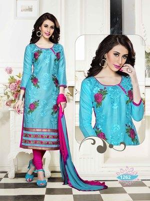 Sky-blue resham embroidery cotton salwar