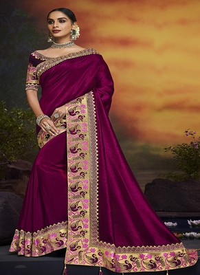dark purple embroidered silk blend saree with blouse