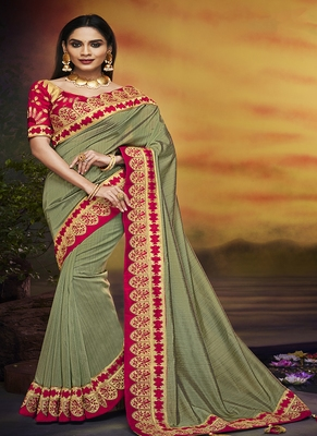 Mehendi embroidered silk blend saree with blouse