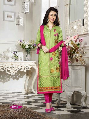 Green resham embroidery cotton salwar
