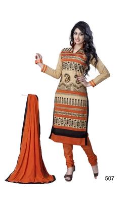 Beige resham embroidery cotton salwar