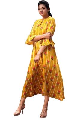 Yellow plain jacquard diwali-kurtis