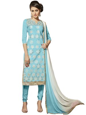 Sky-blue resham embroidery cotton salwar