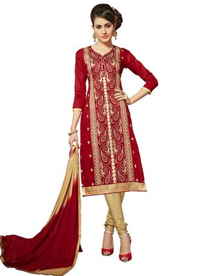 Red resham embroidery cotton salwar