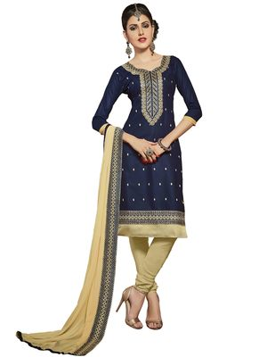 Navy-blue resham embroidery cotton salwar