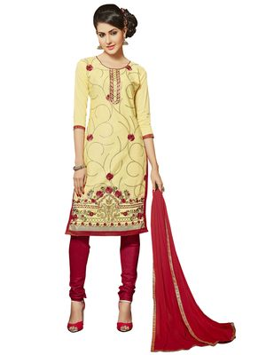 Light-yellow resham embroidery cotton salwar