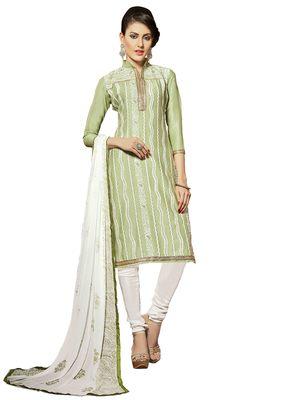 Light-green resham embroidery cotton salwar