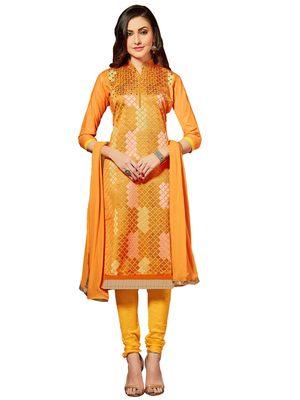 Orange resham embroidery cotton salwar