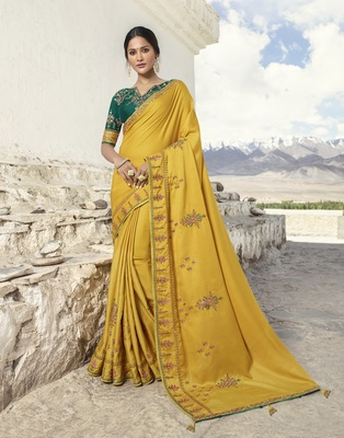 Mustard embroidered silk blend saree with blouse
