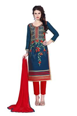 Blue resham embroidery cotton salwar