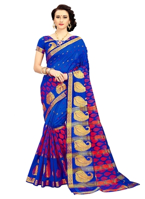 Blue woven cotton silk blend saree with blouse