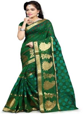 dark green woven cotton silk blend saree with blouse