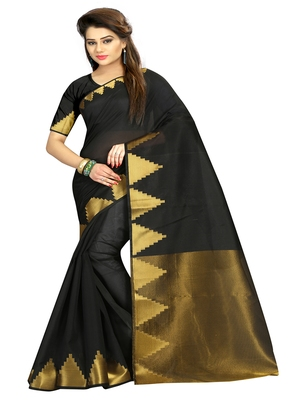 Black woven cotton silk blend saree with blouse