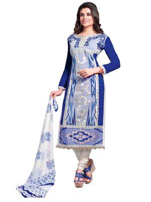 Blue resham embroidery cotton salwar