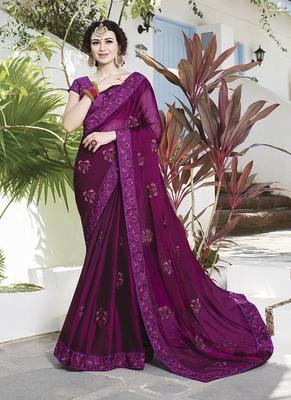 dark magenta embroidered satin saree with blouse