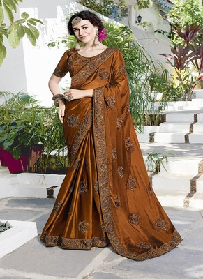 copper embroidered satin saree with blouse