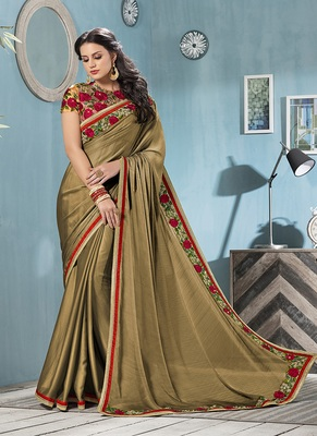 olive embroidered chiffon saree with blouse
