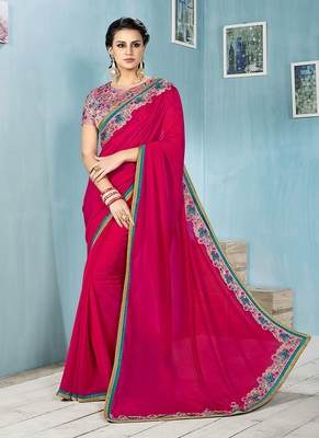 rani pink embroidered chiffon saree with blouse