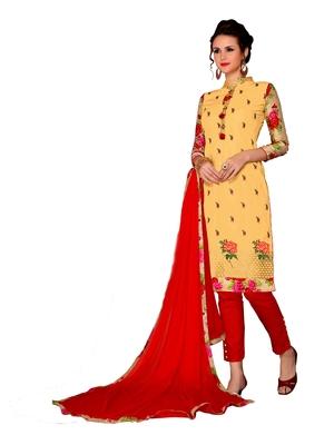 Yellow resham embroidery cotton salwar
