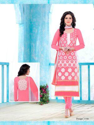 Light-pink resham embroidery cotton salwar