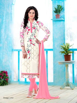 Off-white resham embroidery cotton salwar