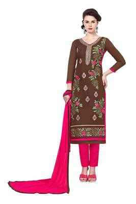 Brown resham embroidery cotton salwar