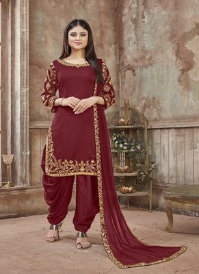 Red embroidered art silk salwar