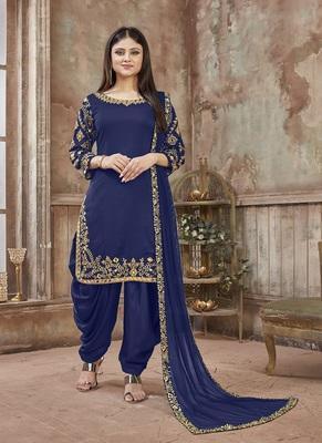 Royal-blue embroidered art silk salwar