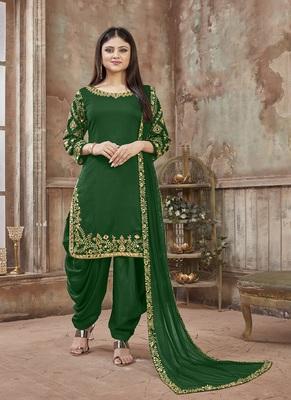 Green embroidered art silk salwar