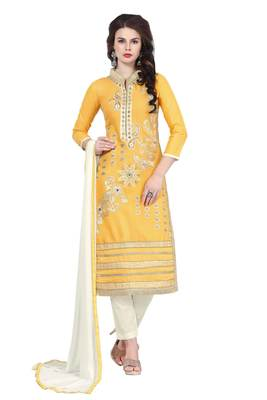 Yellow resham embroidery cotton salwar