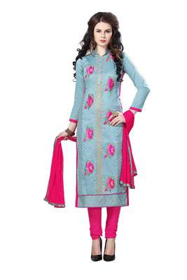 Grey resham embroidery cotton salwar