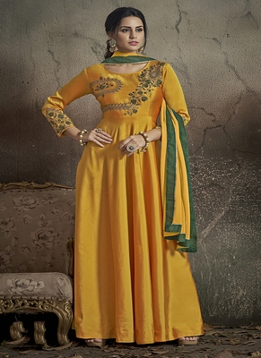 Yellow Embroidered Silk Salwar
