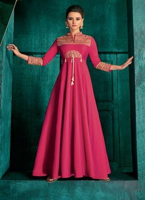 Magenta Embroidered Silk Salwar