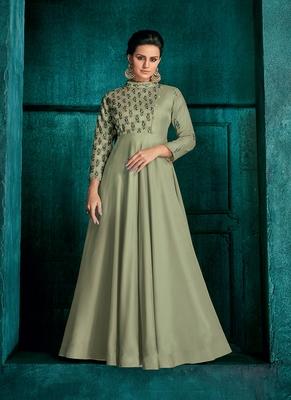 Light-Olive Embroidered Silk Salwar