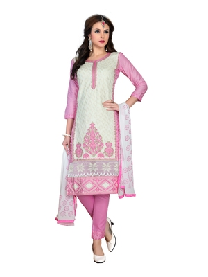 Off-white resham embroidery cotton salwar