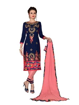 Navy-blue resham embroidery cotton salwar