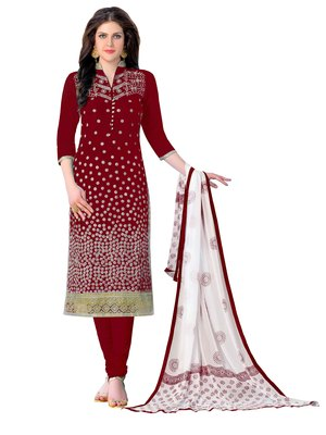 Maroon resham embroidery cotton salwar