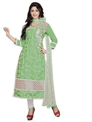 Green resham embroidery cotton salwar