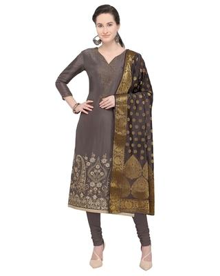 Dark-grey sequins pure silk blend salwar