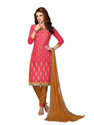 Red resham embroidery cotton salwar