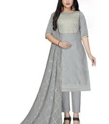 Grey gotta patti work chanderi salwar kameez with dupatta unstitched