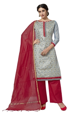 Grey woven work pure jacquard salwarsuit material with chanderi dupatta unstitched