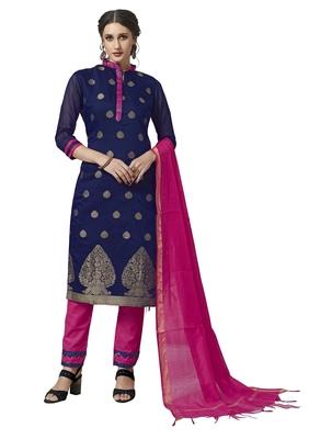 Blue floral print pure jacquard salwar