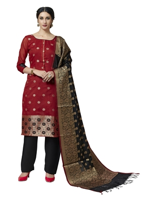 Red Black floral print pure jacquard salwar suit unstitched dress material with chanderi cotton dupatta