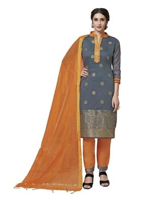 Grey zari woven pure jacquard salwar