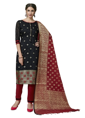 Black Red floral print pure jacquard unstitched salwar suit with chanderi dupatta