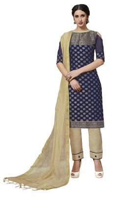 Navy-blue jacquard pure jacquard Salwar suit material with dupatta