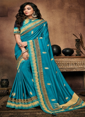 Teal embroidered fancy fabric saree with blouse