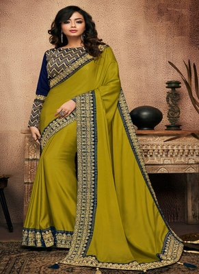 Pear embroidered fancy fabric saree with blouse