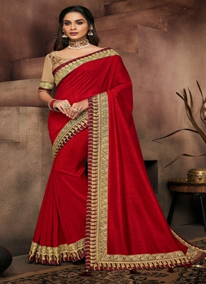 crimson embroidered fancy fabric saree with blouse